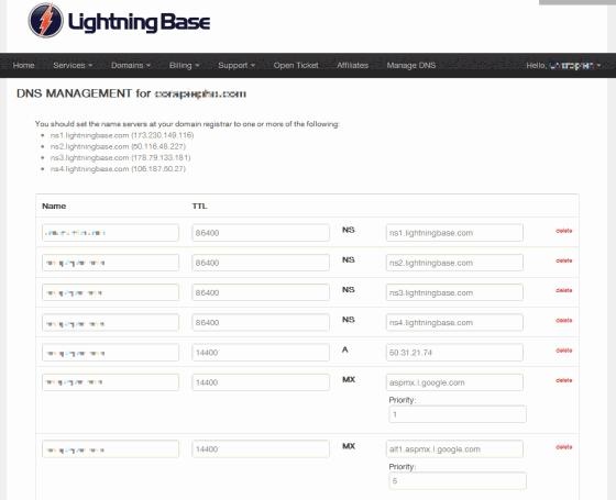 Lightning Base DNS Management